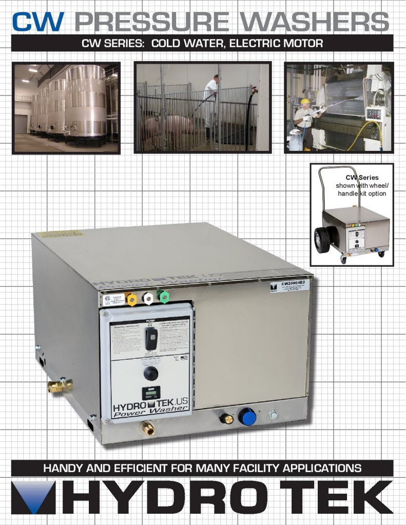 CW Series Cold Water Pressure Washers with Electric Motor Brochure Page 1