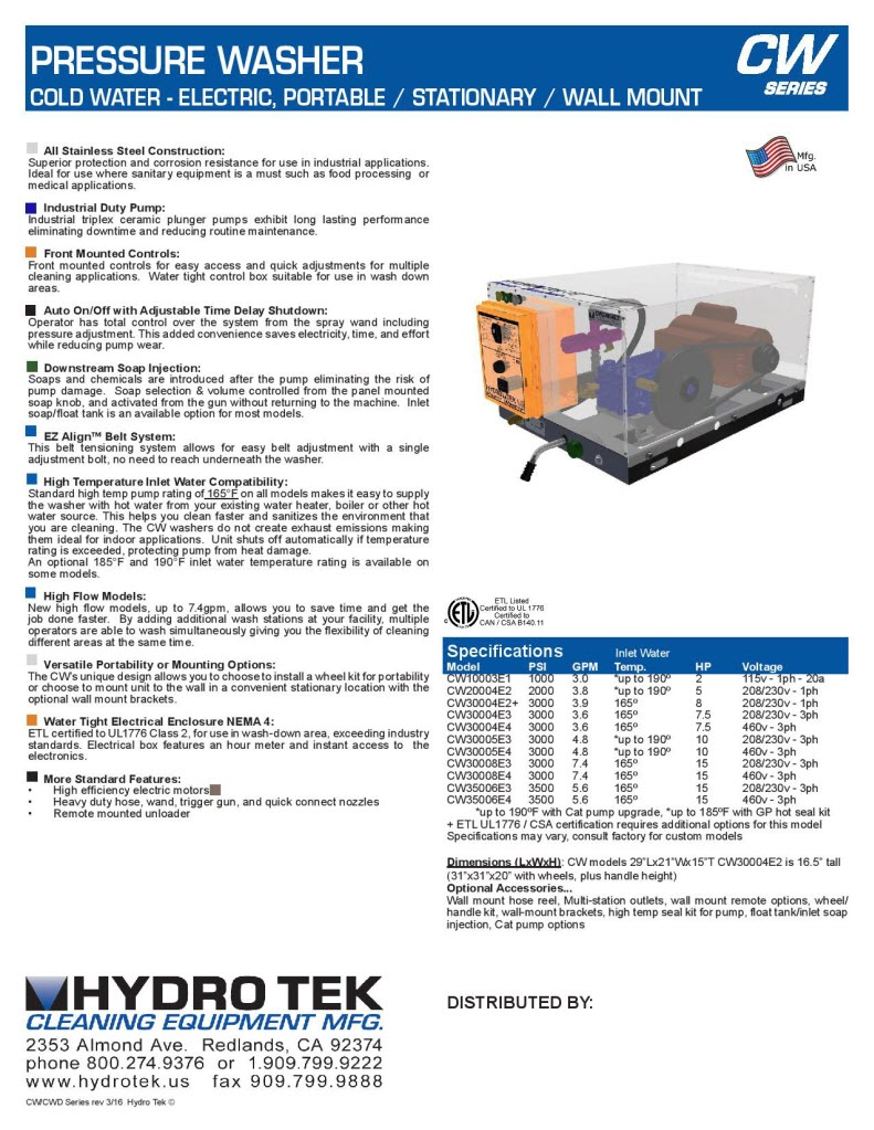 CW Series Cold Water Pressure Washers with Electric Motor Brochure Page 2