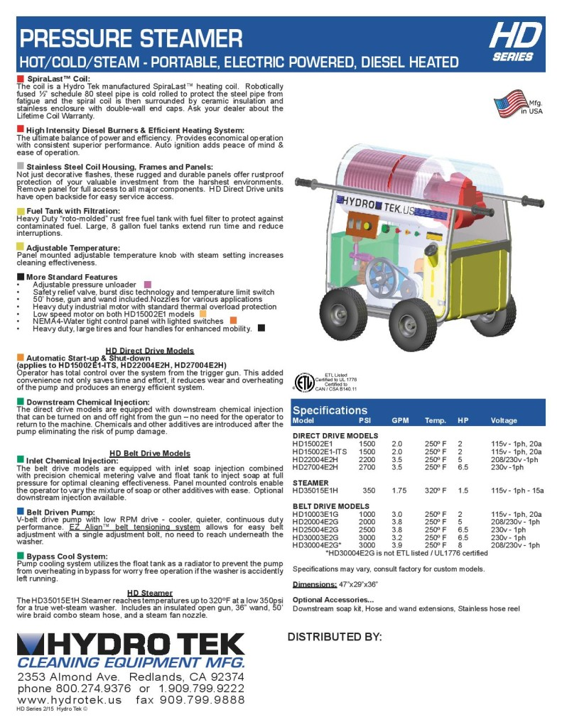 HD Series Hot Water Pressure Washer - Compact Portable Electric Powered, Diesel Heated Brochure Page2