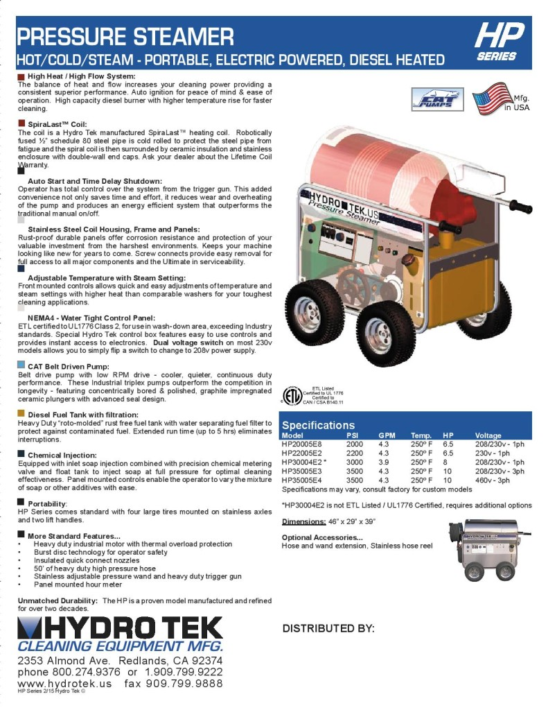 HP Series Hot Water Pressure Washer - Portable Electric, Diesel Heated Brochure Page2