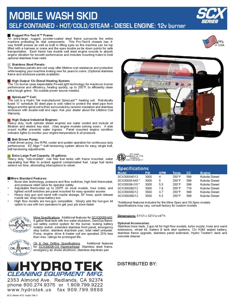 SC-X Series Extreme Duty Hot Water Pressure Washer Brochure Page2