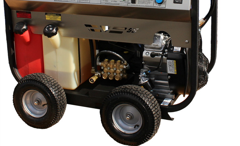 SS Series Gas Driven, Diesel Fired Hot Water Pressure Washers Direct Drive with Hour Meter and Deluxe Wheel Kit