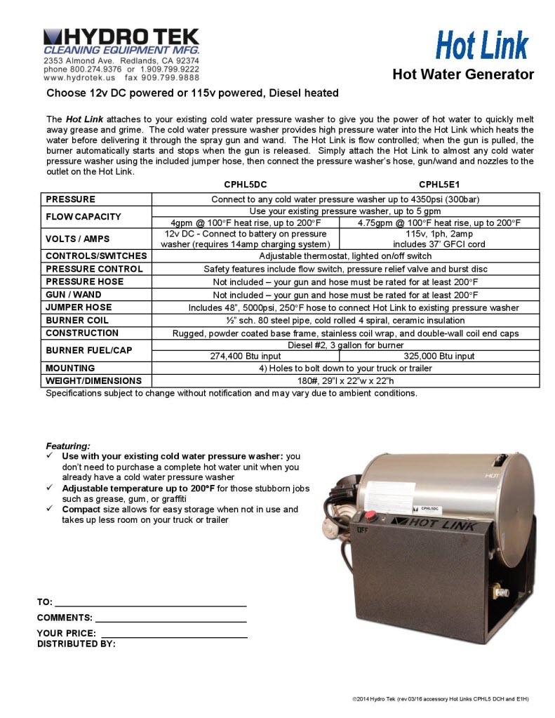 Hydrotek Hot Link Hot Water Generator Brochure