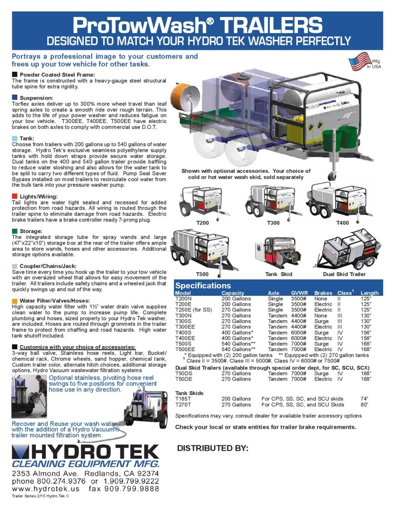 Hydrotek Portable Commercial Trailer Mounted Pressure Washers Brochure 2