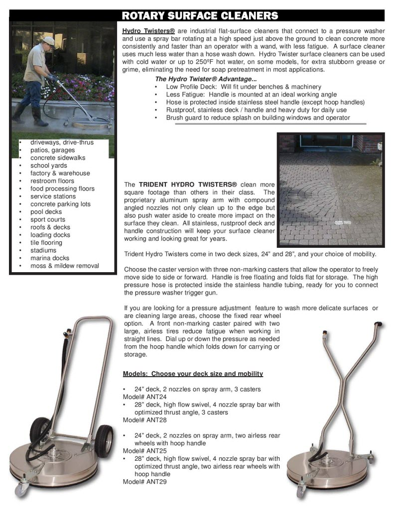 Hydro Twister Industrial Flat Surface Cleaners Brochure Page2
