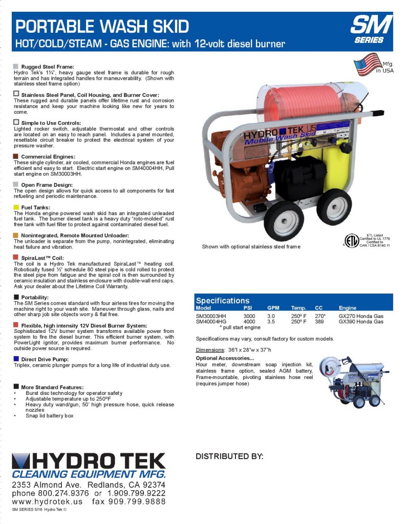 SM Series Portable Hot Water Pressure Washer Brochure Page2